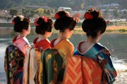 Japanese geisha wearing kimonos