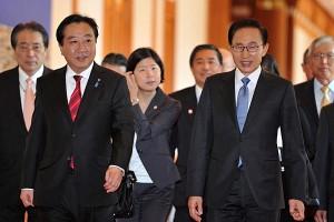 Japanese Prime Minister Noda Yoshiko and South Korean President Lee Myung-Bak