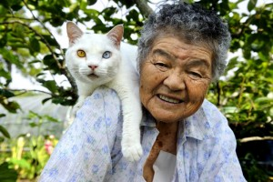 Japanese grandmother with her cat