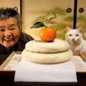 Granny and the cat sit together in the Japanese-style room