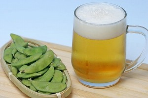 Japanese beer and edamame snack
