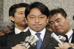 Japanese Defence Minister Onodera Itsunori speaks to journalists at the Ministry of Defence on February 5.