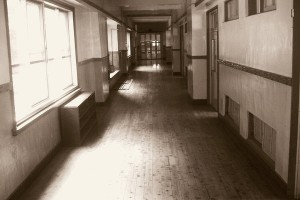 An empty corridor at Ostu school, where a 13 year old boy killed himself due to bullying