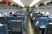 Japanese bullet trains, the interior of a shinkansen carriage