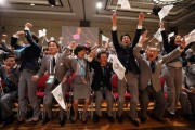 Prime Minister Abe celebrates the announcement of the successful Olympic bid.