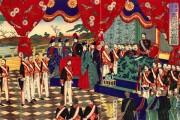 Meiji Constitution promulgation by Toyohara Chikanobu