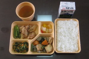 An example of a school meal in Osaka.